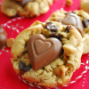 Chocolate Peanut Butter Heart Chip Cookies