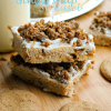 Frosted Eggnog Spice Bars with Gingersnap Streusel