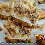 Eggnog Toffee Twix Popcorn Cookie Bars