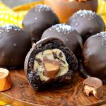 Salted Caramel Mocha Cookie Dough Brownie Bombs
