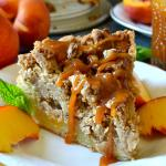 Peach & Pecan Crumb Cake with Homemade Bourbon Caramel