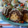 Monster Candy Cookie Dough Brownie Bombs