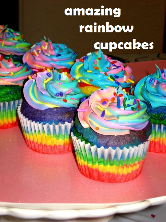 Amazing rainbow cupcakes on a red plate
