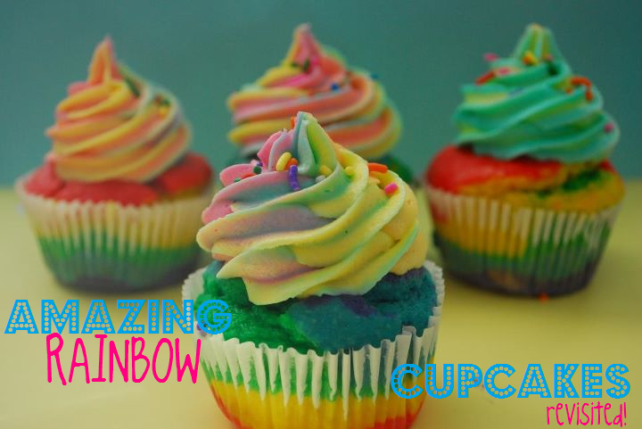 Amazing rainbow cupcakes (revisited!) on a yellow and blue background