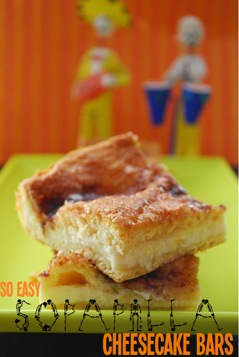 So easy sopapilla cheesecake bars on a lime green plate