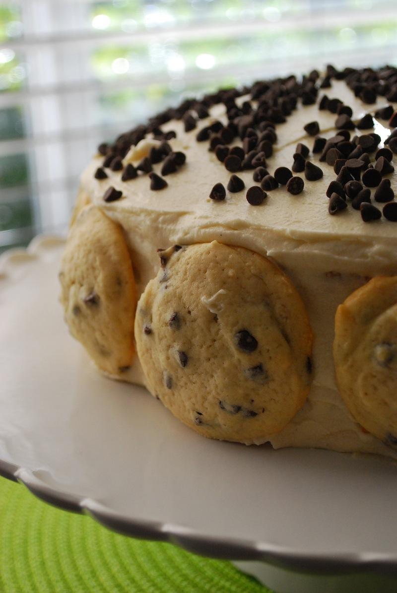 Close-up of chocolate chip cookie dough cake in front of a window