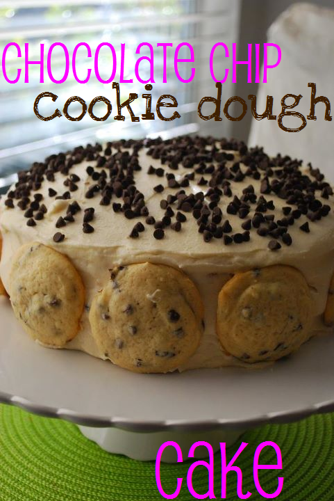 chocolate chip cookie dough cake on a white platter