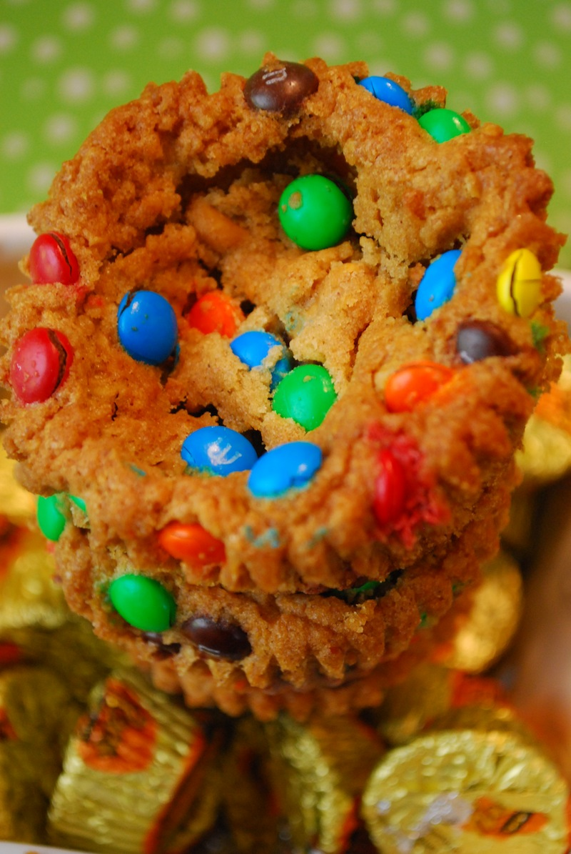 closeup of monster cookie cups