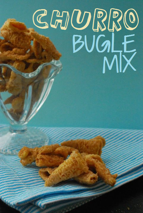 Pieces of churro bugle mix on a blue background