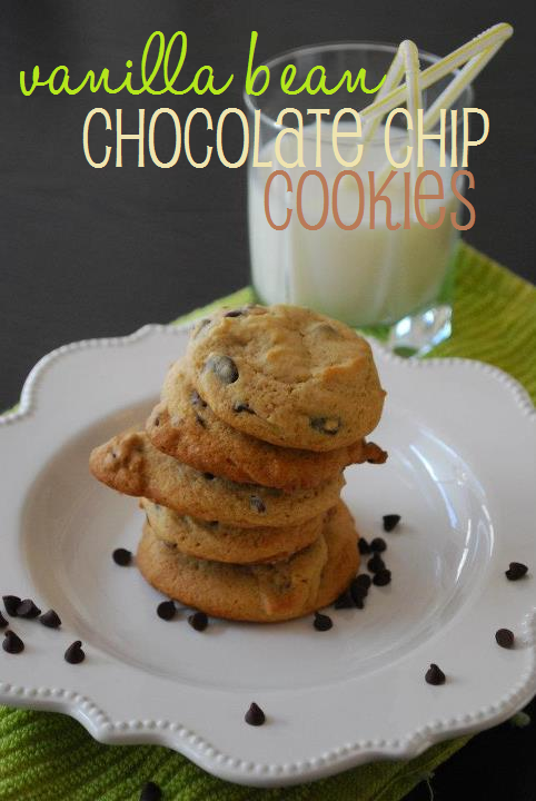 vanilla bean chocolate chip cookies on a white plate