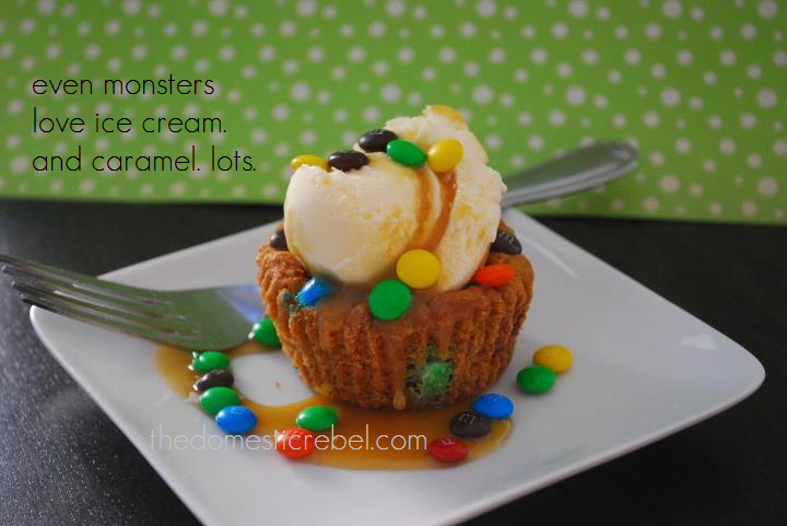 "monster cookie cup sundae with ice cream and the caption ""even monsters love ice cream. and caramel. lots."""