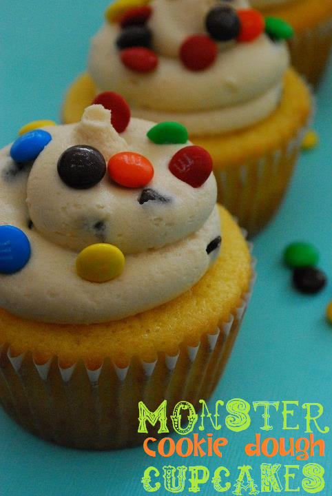 monster cookie dough cupcakes on a blue background