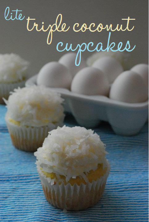 lite triple coconut cupcakes in front of a carton of eggs