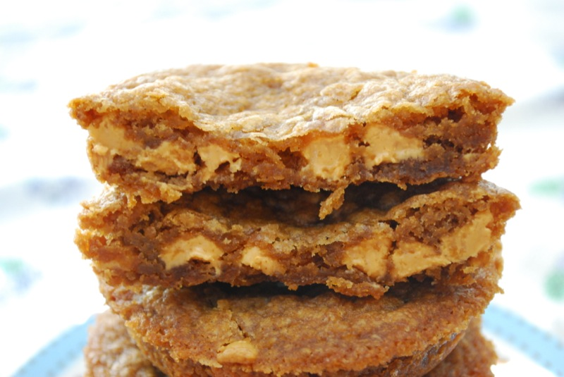 Close-up of deep dish biscoff peanut butter chip cookies