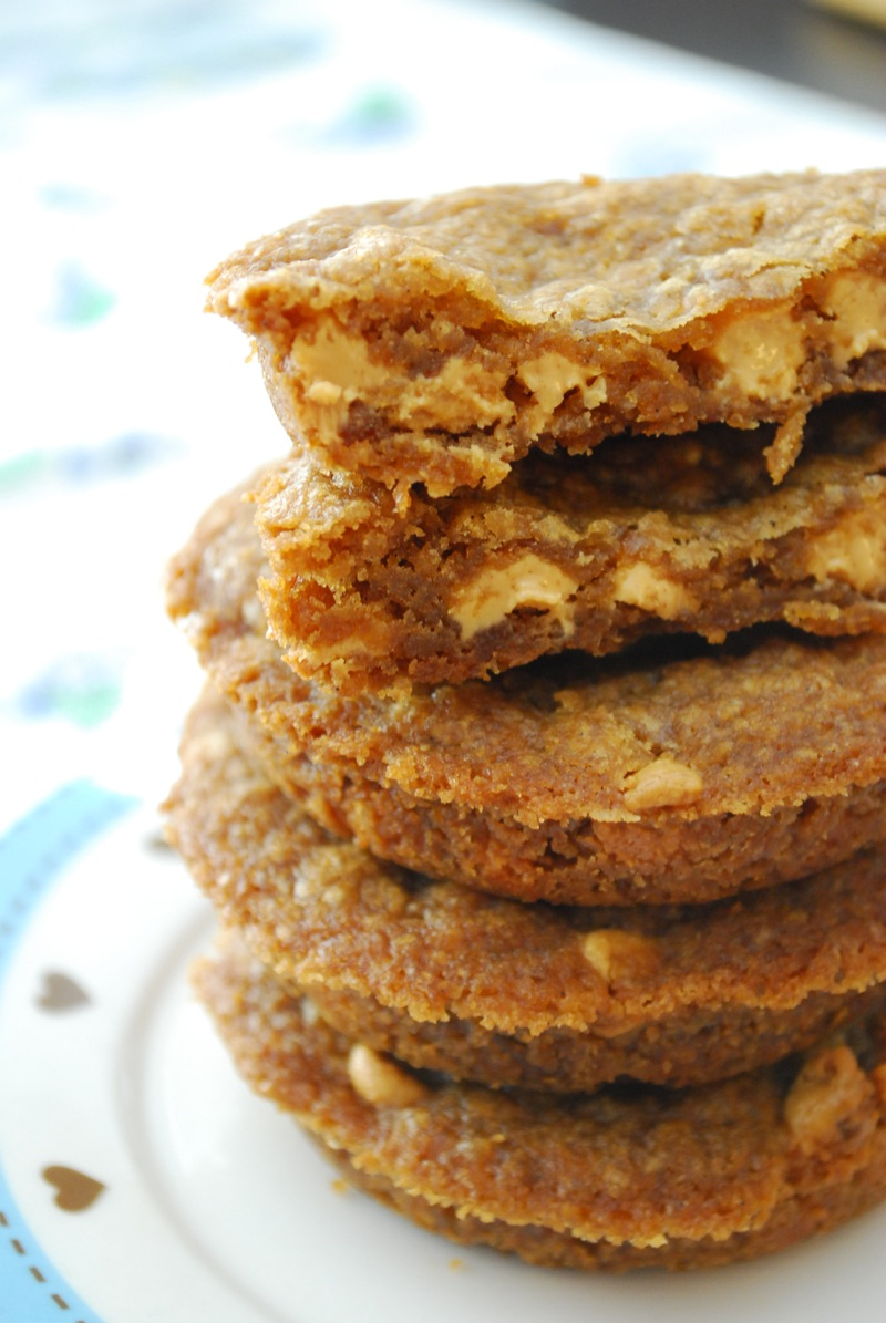 closeup stack of deep dish biscoff peanut butter chip cookies
