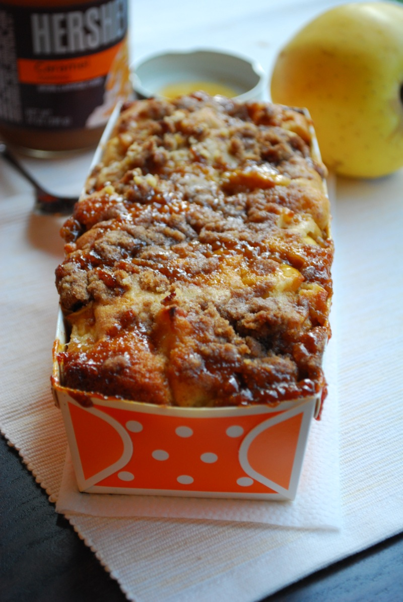 caramel apple bread in an orange loaf pan