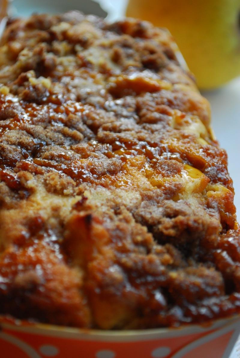 closeup of caramel on caramel apple bread topping