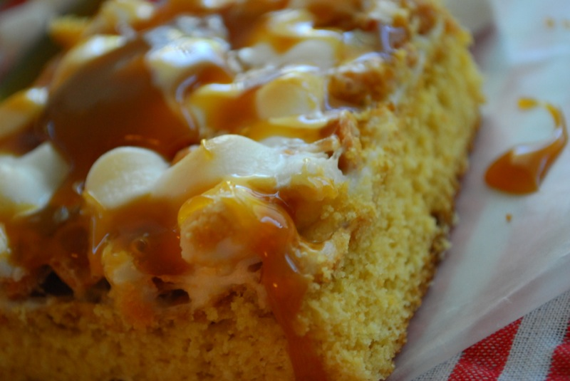 closeup of a caramel marshmallow butterscotch bar