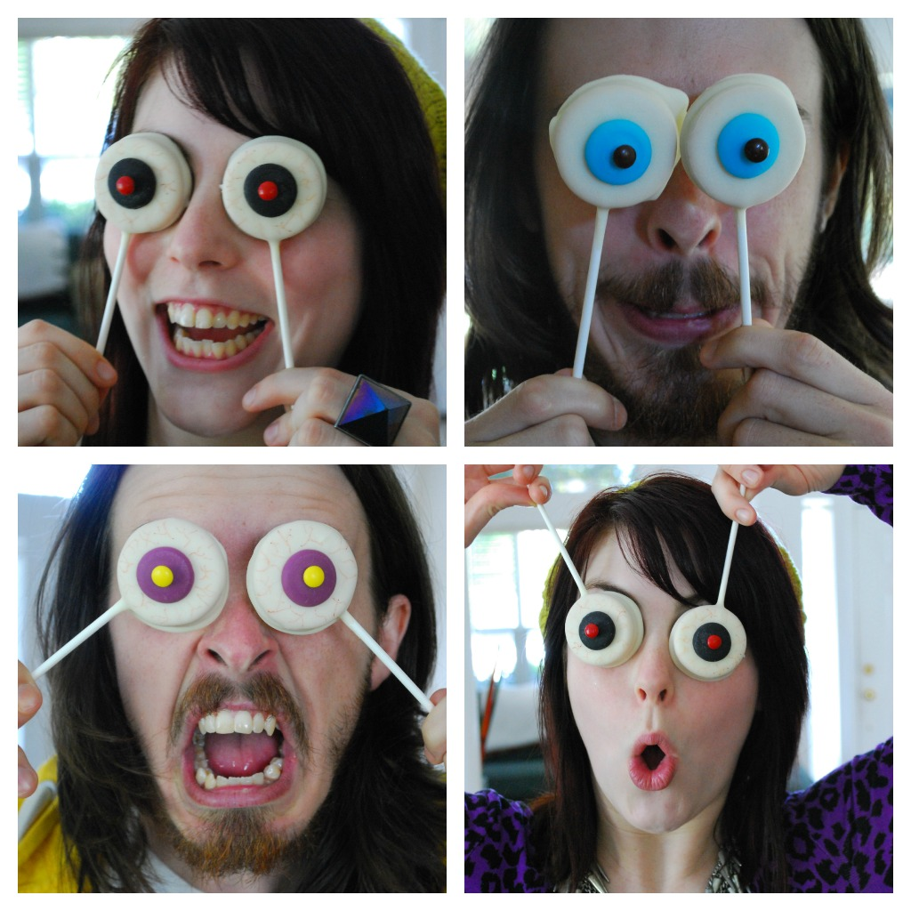 Collage of author and friend posing with eyeball oreo pops
