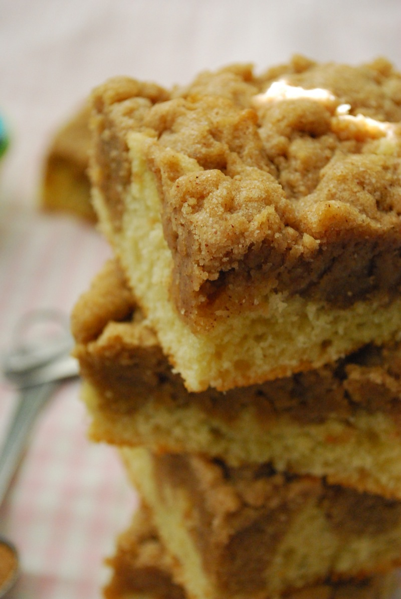 Close-up of a stack of super crumb cake squares