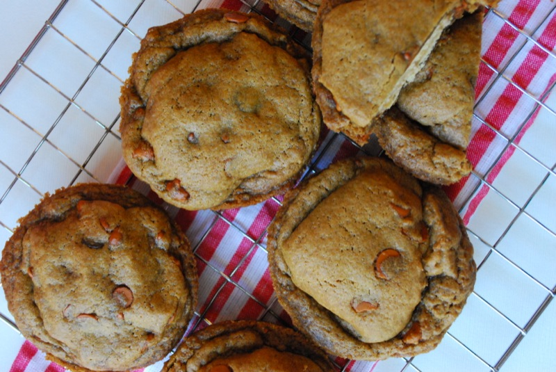 ... cookies and shoves those cookie-covered-cookies into a deep-dish pan