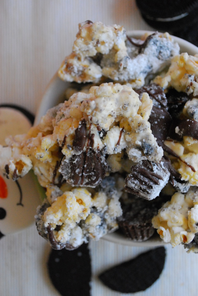 Close-up of cookies and cream Reese's cup puppy chow popcorn