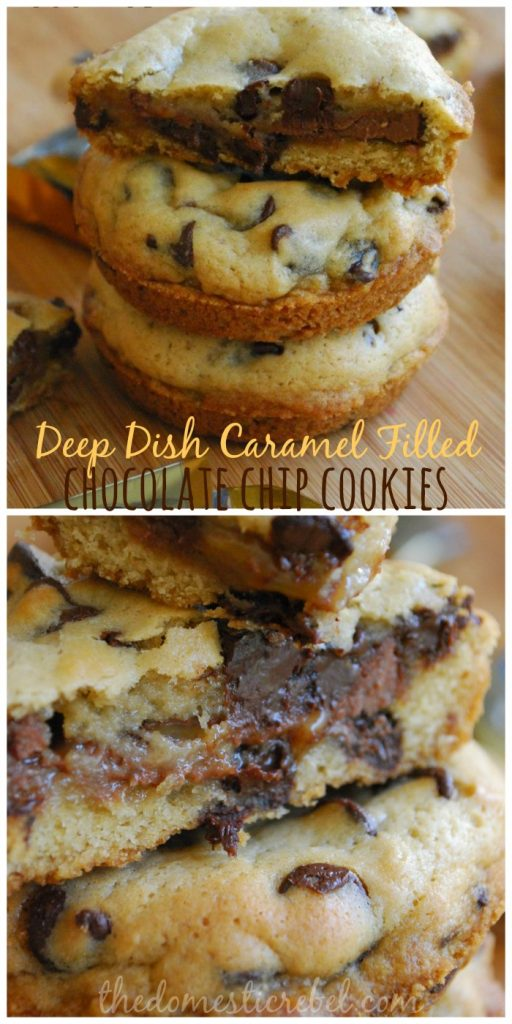 These Deep Dish Caramel Filled Chocolate Chip Cookies are AMAZING! Thick, chewy and loaded with buttery caramel and melty chocolate chips, they'll become your family's favorite in no time!