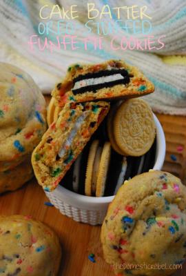 Cake Batter Oreo-Stuffed Funfetti Cookies