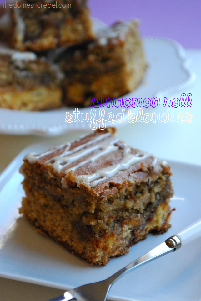 Cinnamon Roll Stuffed Blondies Guest Post The Domestic