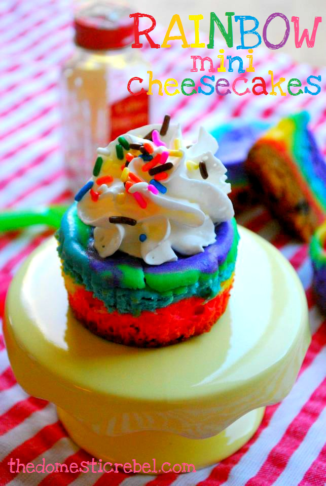 rainbow mini cheesecakes