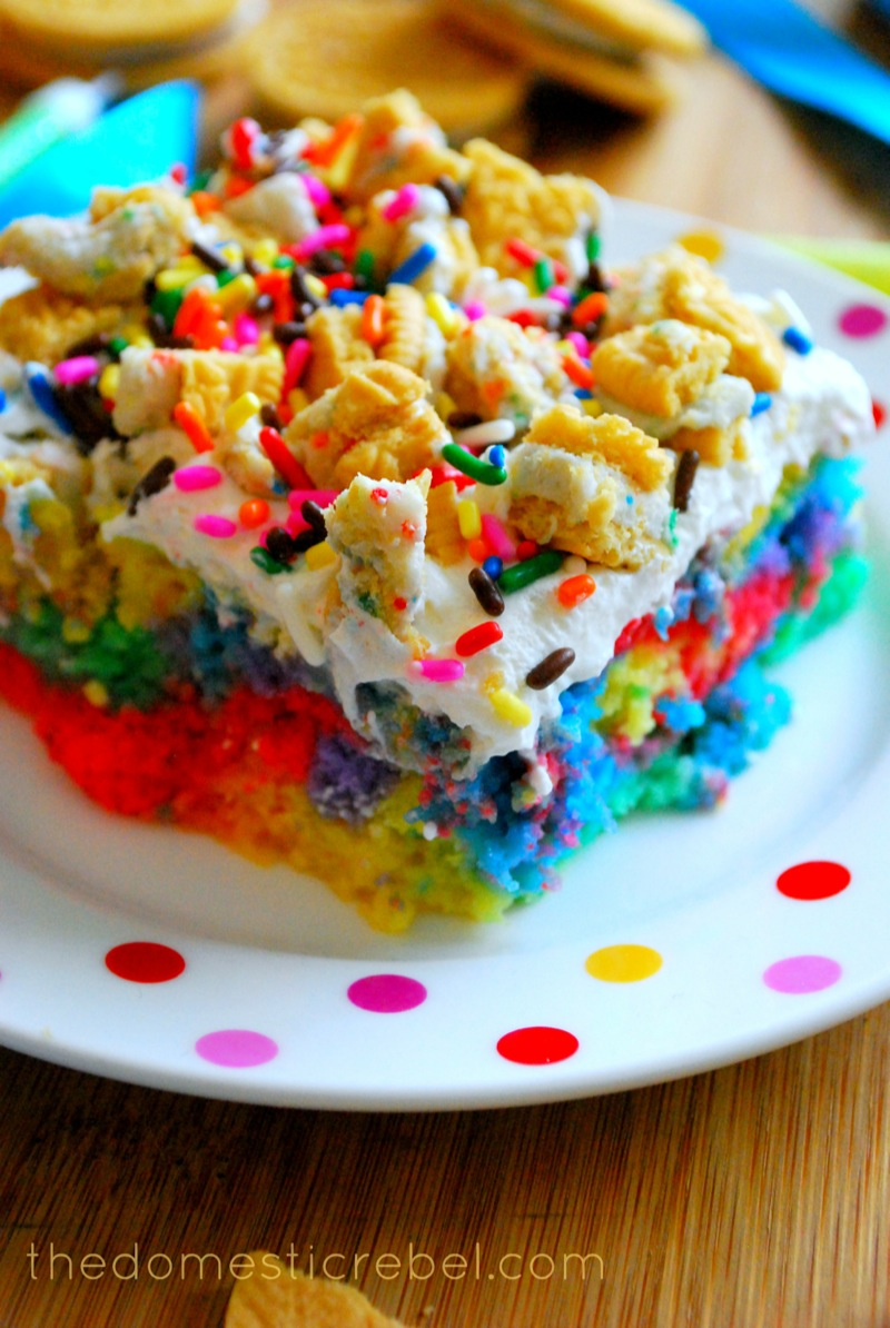 Better Than Presents Rainbow Birthday Poke Cake The Domestic Rebel