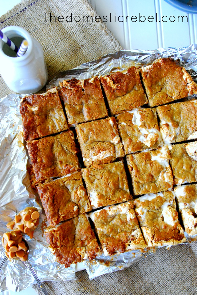 six layer biscoff oatmeal cookie bars arranged in a grid pattern on a tan and white background