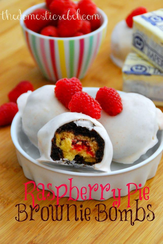 raspberry pie brownie bombs