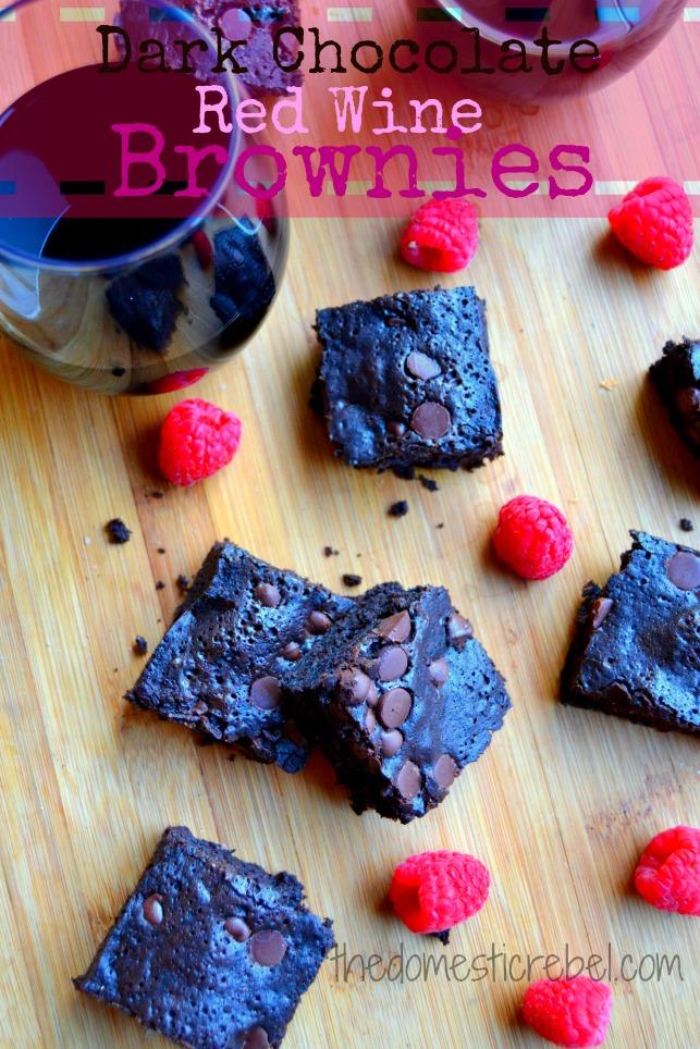 red wine dark chocolate brownies