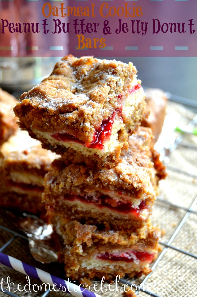 oatmeal cookie peanut butter and jelly donut bars