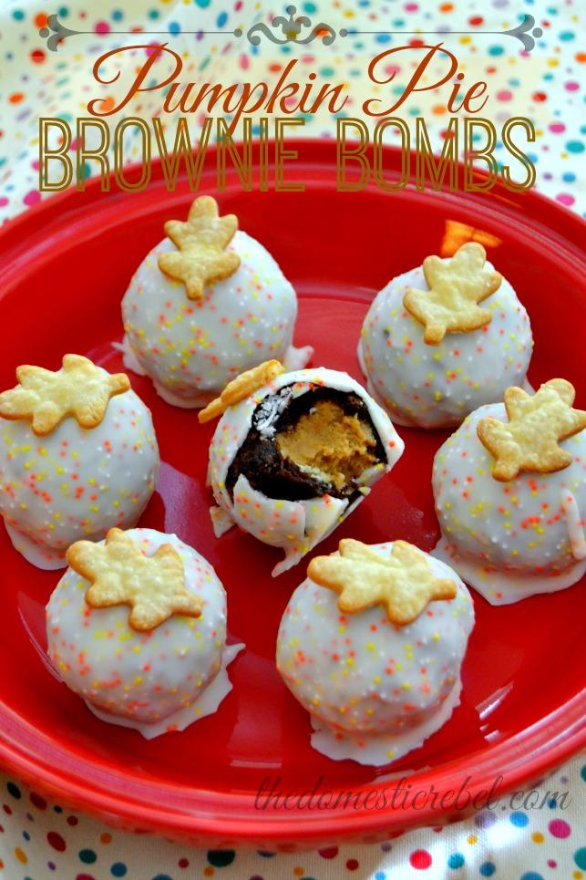 Pumpkin Pie Brownie Bombs in red dish