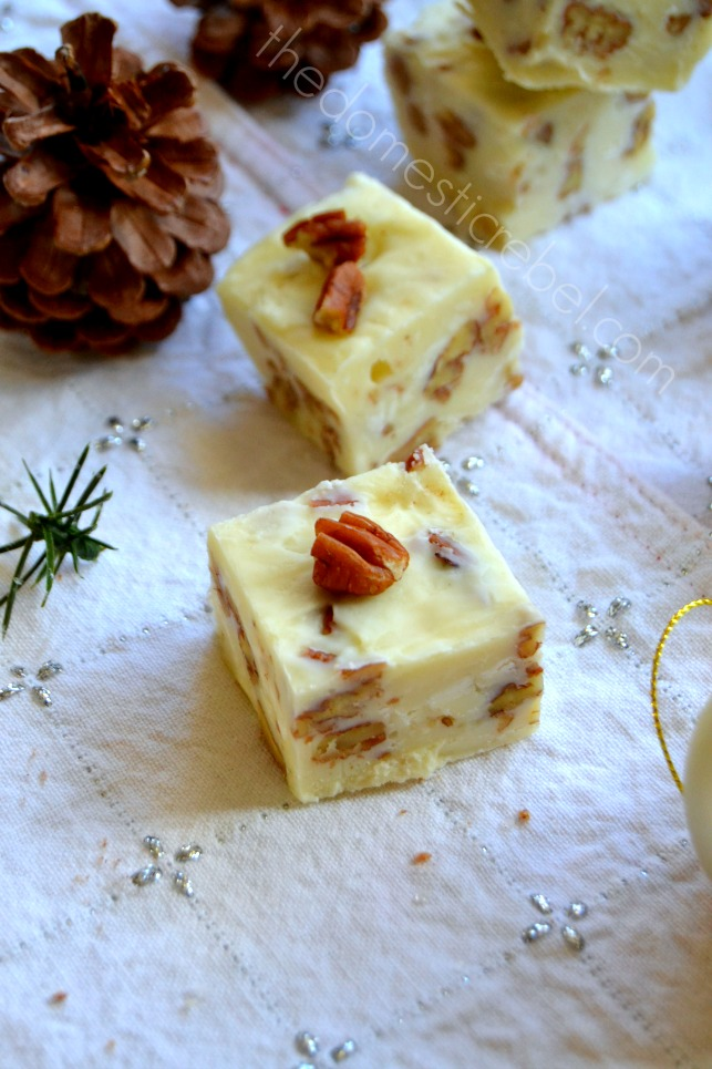 divinity fudge on white background with pinecones