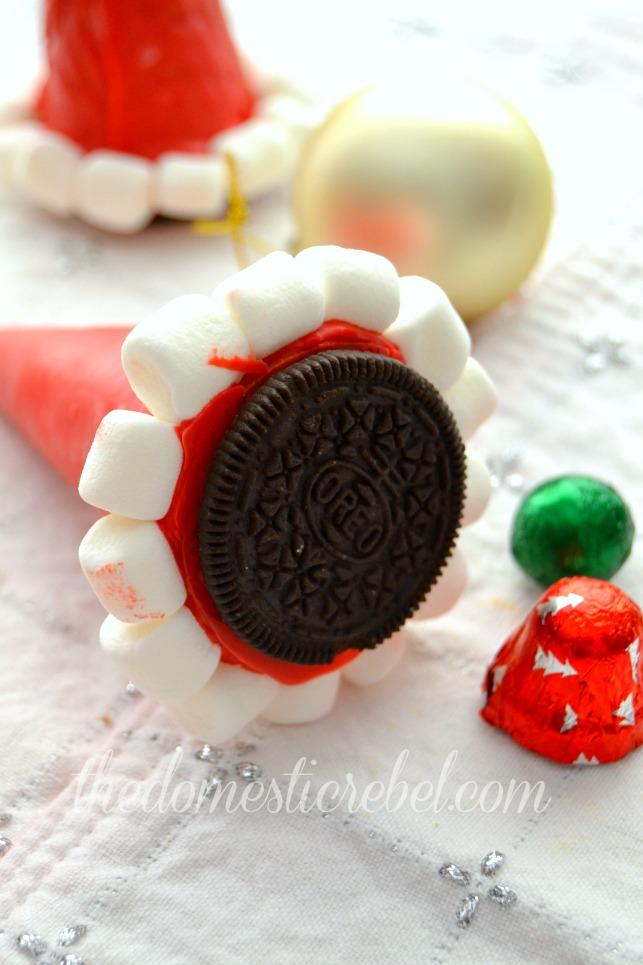 santa hat cone cookies