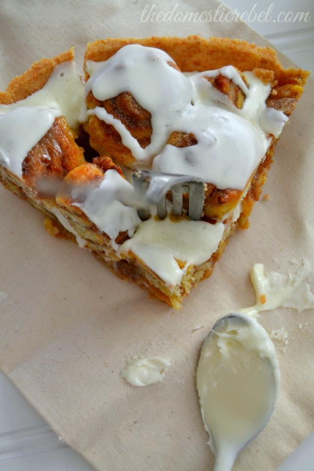 cinnabon cinnapopper pie slice with fork in it