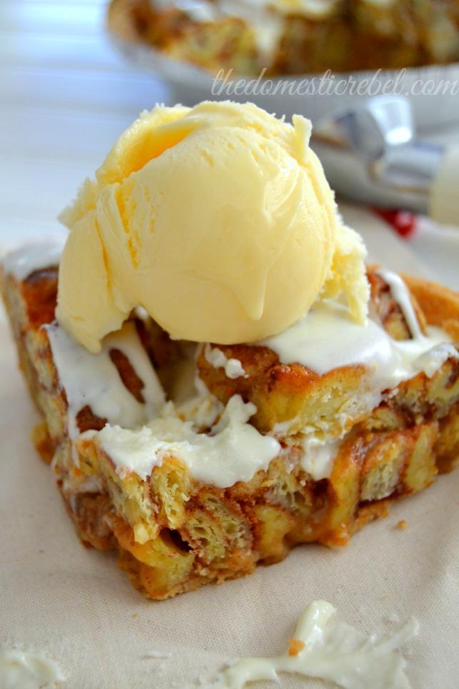 cinnabon cinnapopper pie slice with ice cream on light colored plate