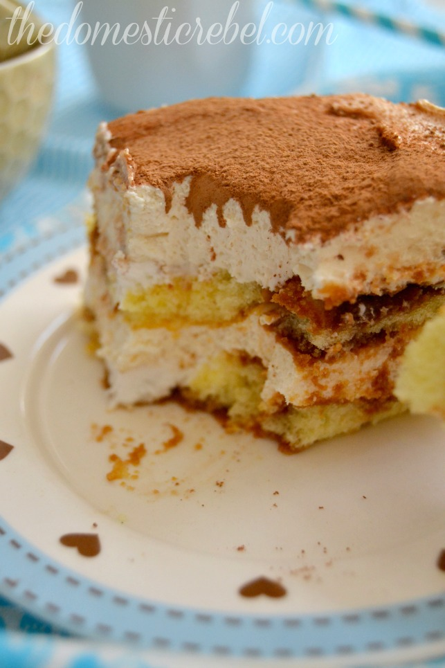 bailey's twinkie tiramisu with bite removed on blue and white plate