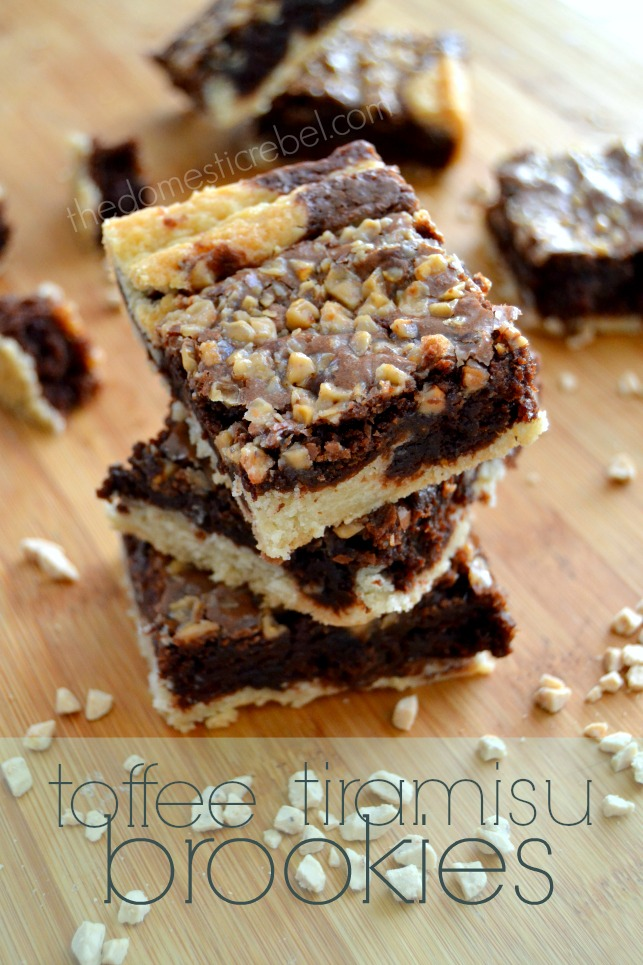 Toffee Tiramisu Brownies stacked on wooden surface