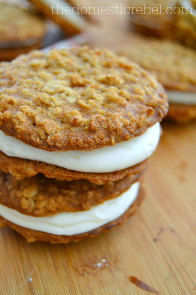 copycat oatmeal creme pies stacked on wood background