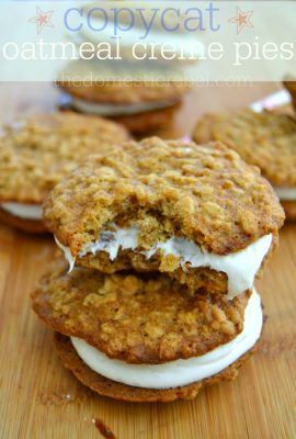 These Copycat Oatmeal Cream Pies are fantastic! Chewy, soft and filled with a smooth marshmallow filling!