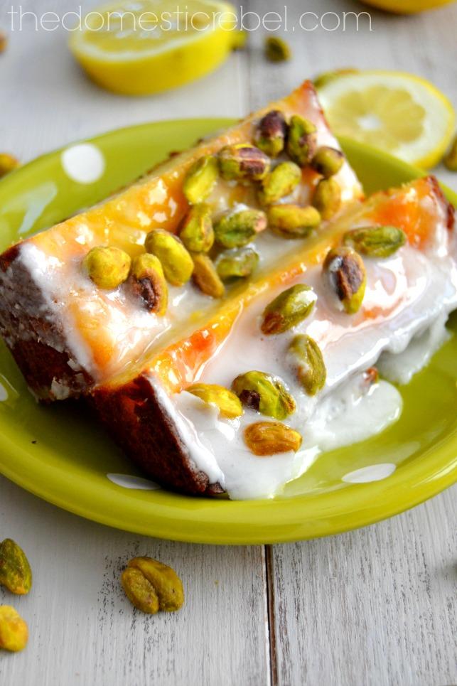 lemon pistachio pound cake on a green polka dot plate