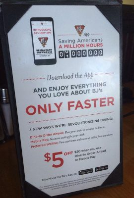 Dinner at BJ's Restaurant — Featuring The New BJ's Dine In Order Ahead App with Mobile Pay!