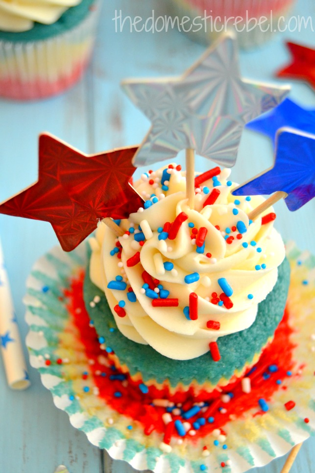 patriotic tie dye cupcake up close on blue background