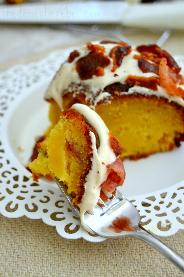 maple bacon pancake pound cake forkful of cake on white plate