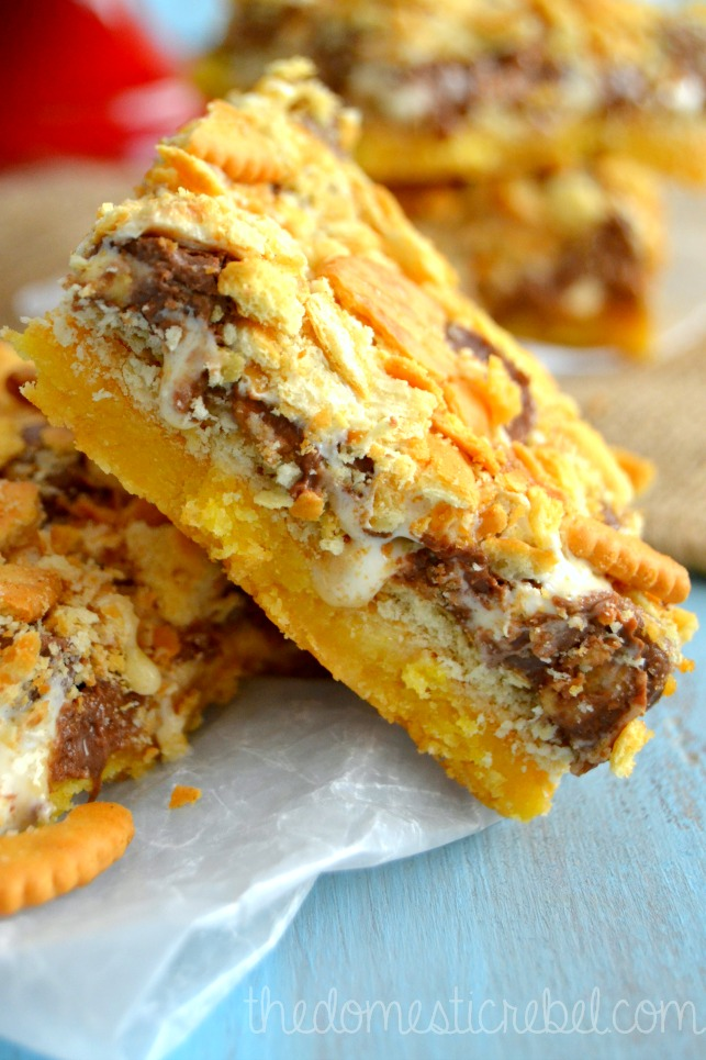 ritz cracker peanut butter caramel s'mores bars