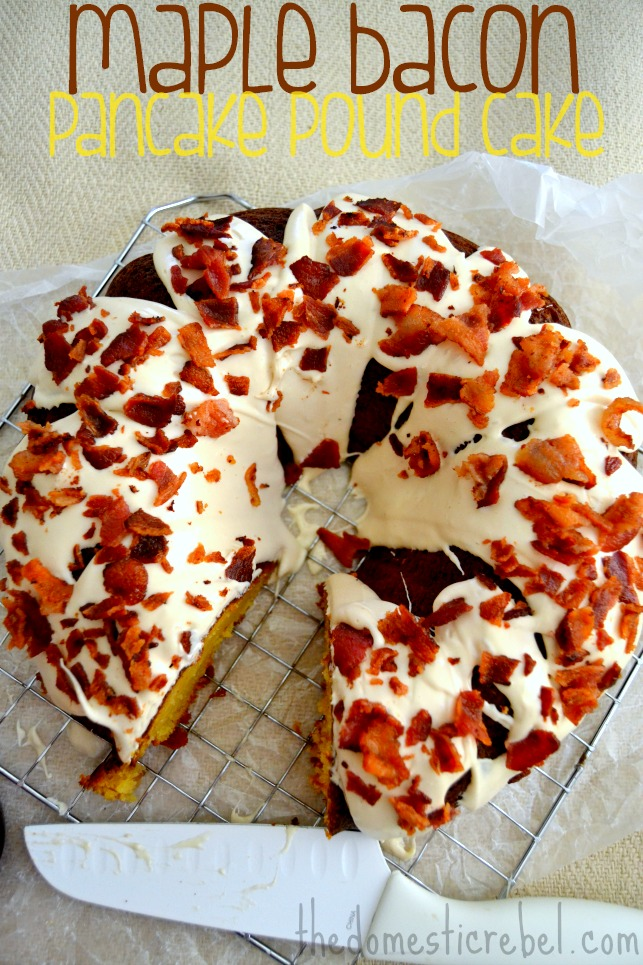 Maple Bacon Pancake Pound Cake on light background with knife